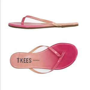 TKEES   6   Pink Ombré Leather Thong Sandals